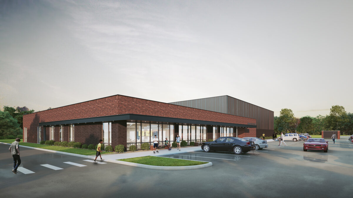 An exterior image of the future Racquet Up Facility